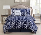 7 Piece Queen Sweet Navy/White Comforter Set