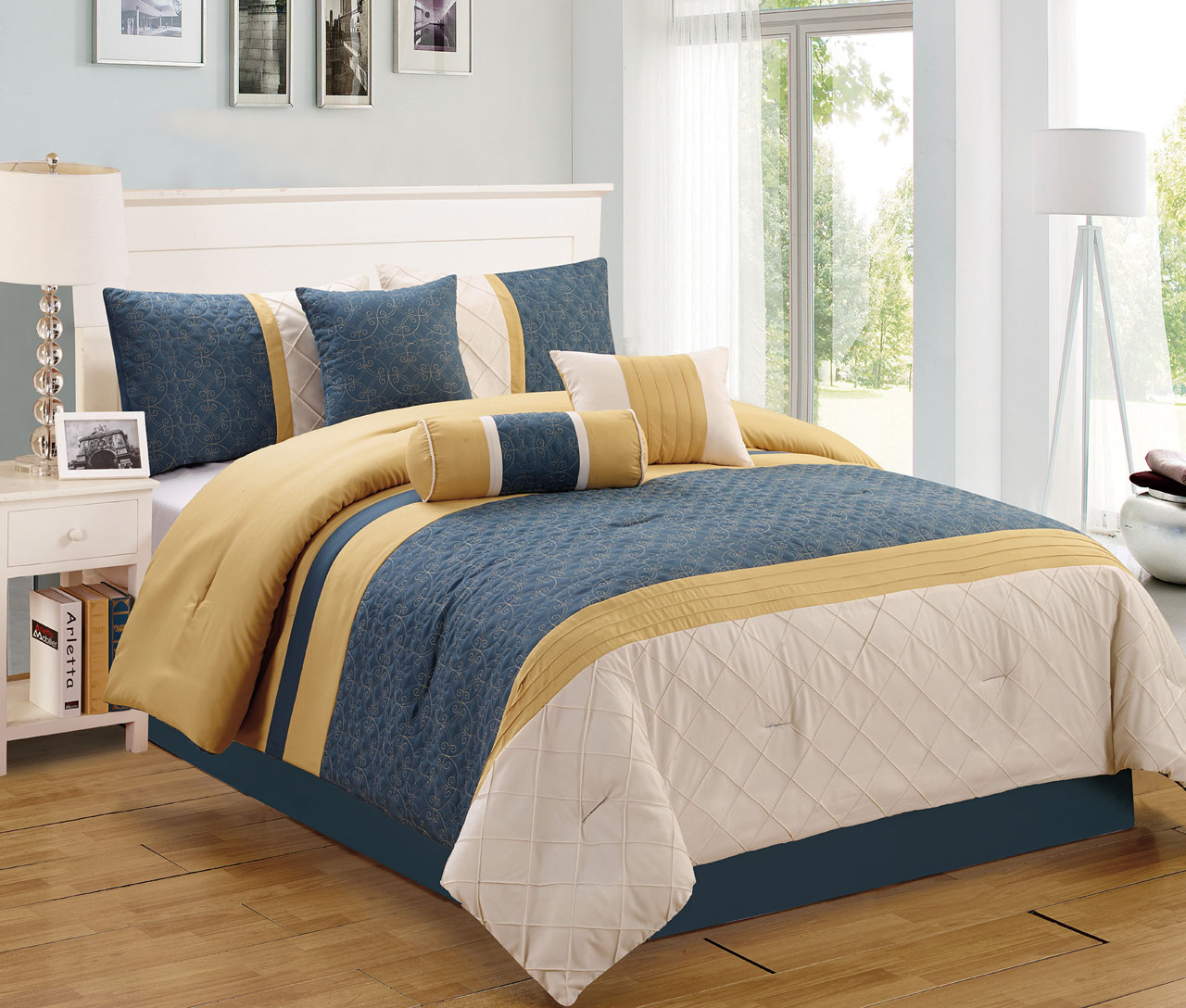 cobalt blue and brown quilt sets in