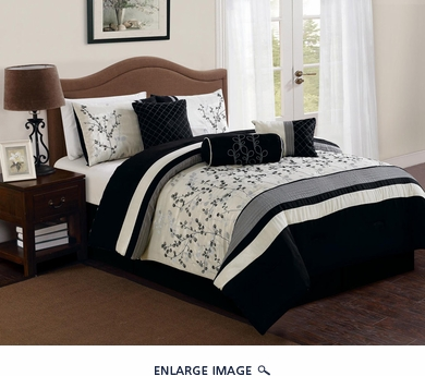 7 Piece Queen Trabuco Embroidered Comforter Set