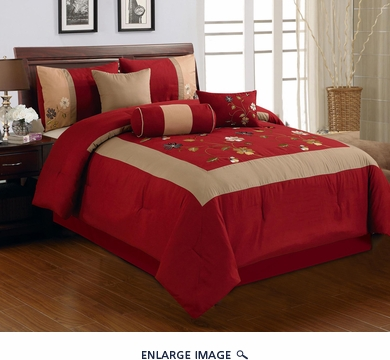 7 Piece Queen Vallejo Burgundy Comforter Set