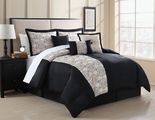 7 Piece Queen Zaire Black and Ivory Embroidered Comforter Set