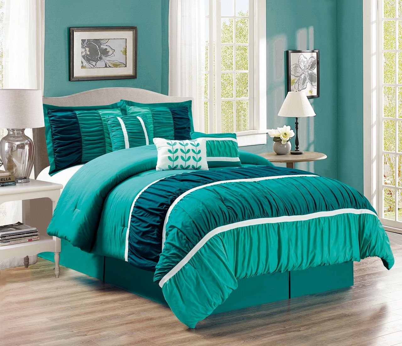 7 Piece Ruched Teal Green Comforter Set