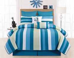 7 Piece Twin Broomfield Teal/Blue Quilt Set