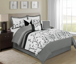 7 Piece Willow Black/Gray/White Comforter Set
