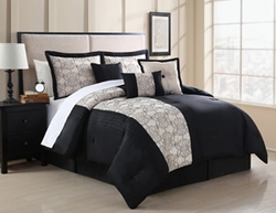 7 Piece Zaire Black and Ivory Embroidered Comforter Set