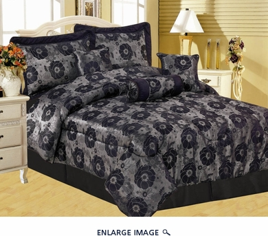 7Pcs Black Jacquard Floral Comforter Set King