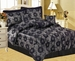 7Pcs Black Jacquard Floral Comforter Set Queen