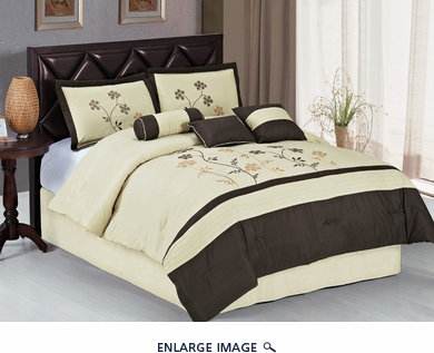 7Pcs Cal King Beige and Coffee Embroidered Comforter Set
