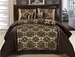 7Pcs Cal King Coffee and Taupe Flocked Comforter Set