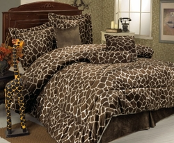 7Pcs Full Giraffe Animal Kingdom Bedding Comforter Set