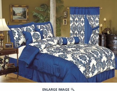 7Pcs Full Louisa Flocking Blue Comforter Set