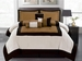 7Pcs King Beige Micro Suede Block Comforter Set