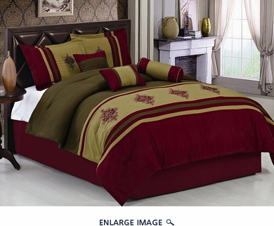 7Pcs King Burgundy Embroidered Medallion Comforter Set