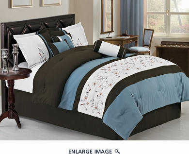 7Pcs King Chocolate/Blue/Ivory Embroidered Comforter Set