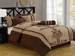 7Pcs King Coffee and Taupe Embroidered Comforter Set