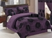 7 Piece King Purple Floral Flocking Comforter Set