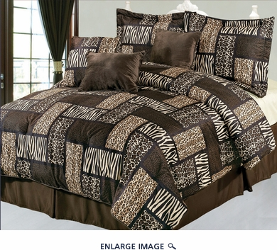 7Pcs King Safari Brown Patchwork Micro Suede Comforter Set