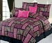 7Pcs King Safari Pink and Black Patchwork Micro Suede Comforter Set