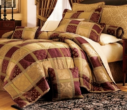 7Pcs Maroon Jewel Patchwork Comforter Bed in a Bag Full