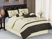 7Pcs Queen Beige and Coffee Embroidered Comforter Set