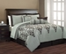 7 Piece Queen Beverly Flocking Chocolate and Sage Comforter Set