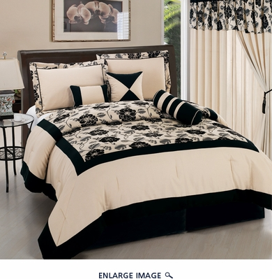 7Pcs Queen Black and Linen Floral Flocking Comforter Set