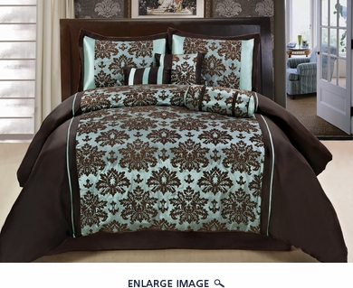 7Pcs Queen Blue and Coffee Flocked Comforter Set