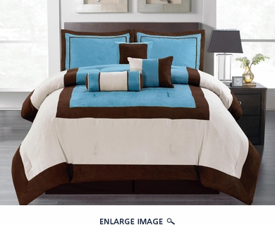 7Pcs Queen Blue Micro Suede Block Comforter Set