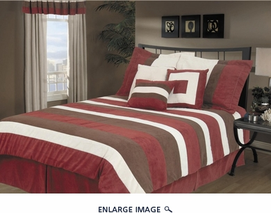 7Pcs Queen Burgundy Avenue Micro Suede Bedding Comforter Set