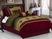 7Pcs Queen Burgundy Embroidered Medallion Comforter Set