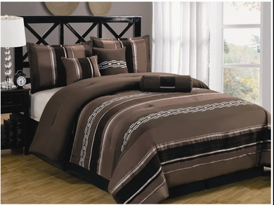 7Pcs Queen Coffee and Black Chenille Stripes Comforter Set