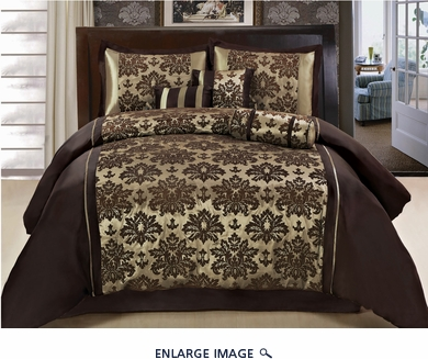 7Pcs Queen Coffee and Taupe Flocked Comforter Set