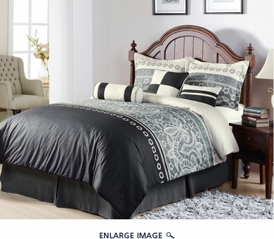 7Pcs Queen Eiffel Black and Grey Bedding Comforter Set