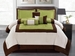 7Pcs Queen Green Micro Suede Block Comforter Set
