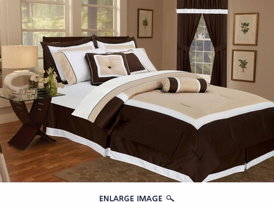 7Pcs Queen Hotel Collection Block Comforter Set Chocolate