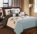 7Pcs Queen Juliet Blue/Ivory/Coffee Embroidered Comforter Set