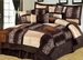 7 Piece Queen Leopard Patchwork Faux Fur Microfiber Comforter Set
