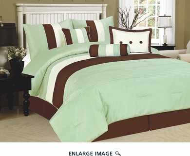 7Pcs Queen Lindenbrook Sage Bedding Comforter Set