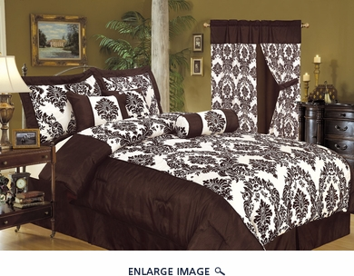 7Pcs Queen Louisa Flocking Chocolate Comforter Set