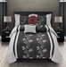 7 Piece Queen Mia Embroidered Comforter Set Black/Gray