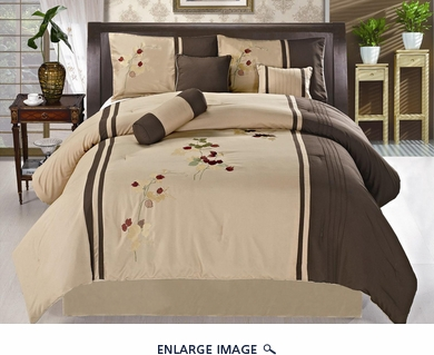 7 Piece Queen Moca and Tan Floral Embroidered Comforter Set