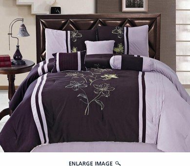 7Pcs Queen Purple and Lavender Embroidered Comforter Set