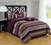 7Pcs Queen Purple and Silver Chenille Stripes Comforter Set