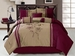 7Pcs Queen Red and Taupe Embroidered Comforter Set