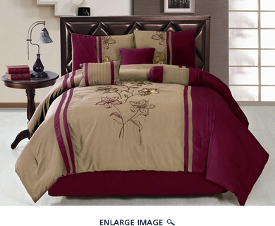 7 Piece Queen Red and Taupe Embroidered Comforter Set