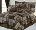 7 Piece Queen Safari Brown Patchwork Micro Suede Comforter Set