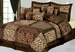7Pcs Queen Safari Brown Patchwork Micro Suede Comforter Set