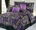 7Pcs Queen Safari Purple and Black Patchwork Micro Suede Comforter Set