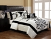 7 Piece Queen Salma Black and White Flocking Comforter Set