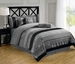 7 Piece Queen Silver and Gray Chenille Stripes Comforter Set